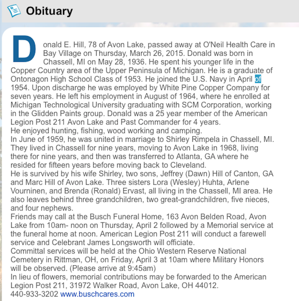 To enlarge above obituary, click on the above image  and then look to the upper right of your screen and you will see two arrows pointing at each other...click on them and obituary will go to full screen.