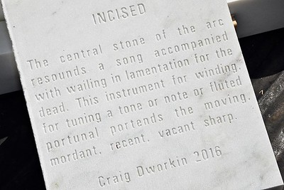 """The poem """"Incised"""" by poet Caig Dworkin.  This was commissioned for display at the American Legion Centennial Memorial."""