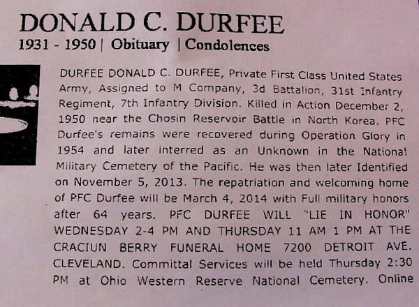 PFC Durfee--Remains of Soldier KIA, Chosin Reservoir return home