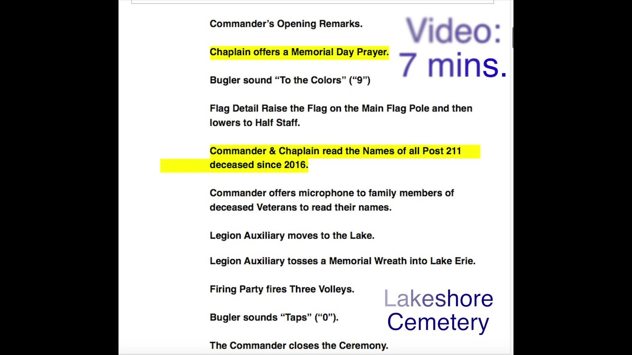 Video:  7 minutes - Lakeshore Cemetery -- Memorial Day, Mon., May 29, 2017