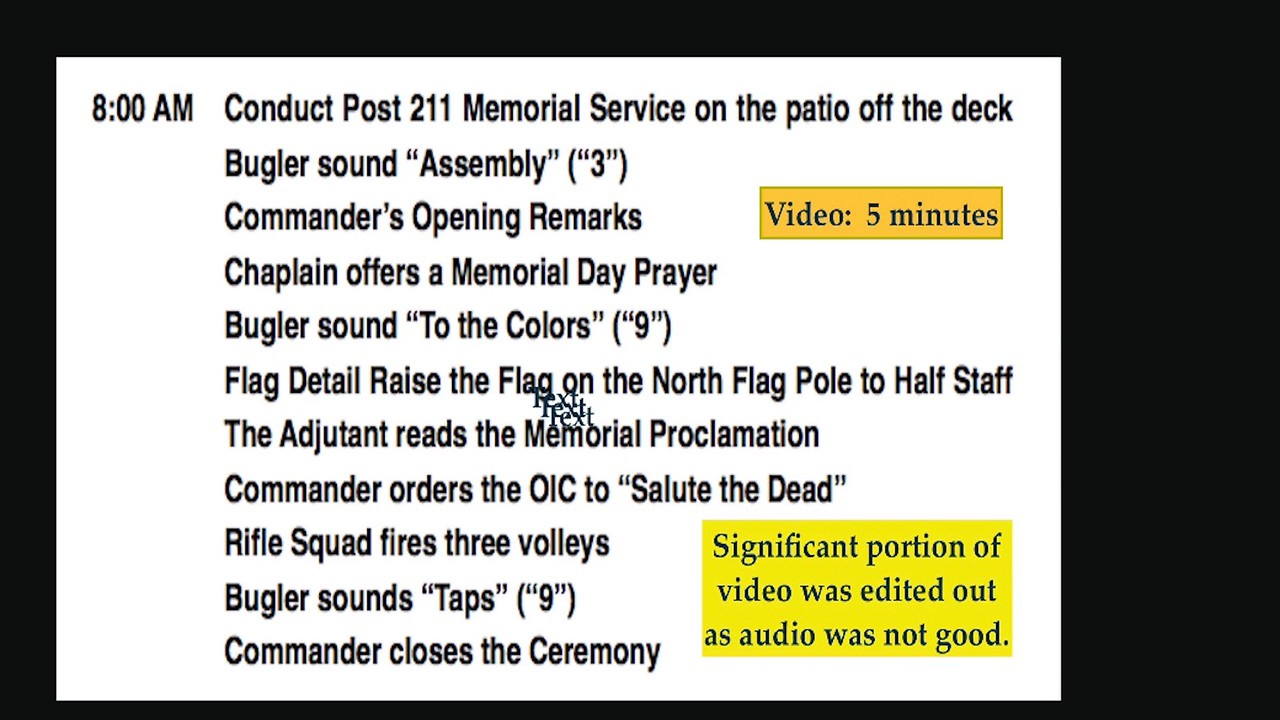 Video:  5 mins. ~~ Memorial Proclamation, American Legion Post 211, Memorial Day, Mon., May 29, 2017.