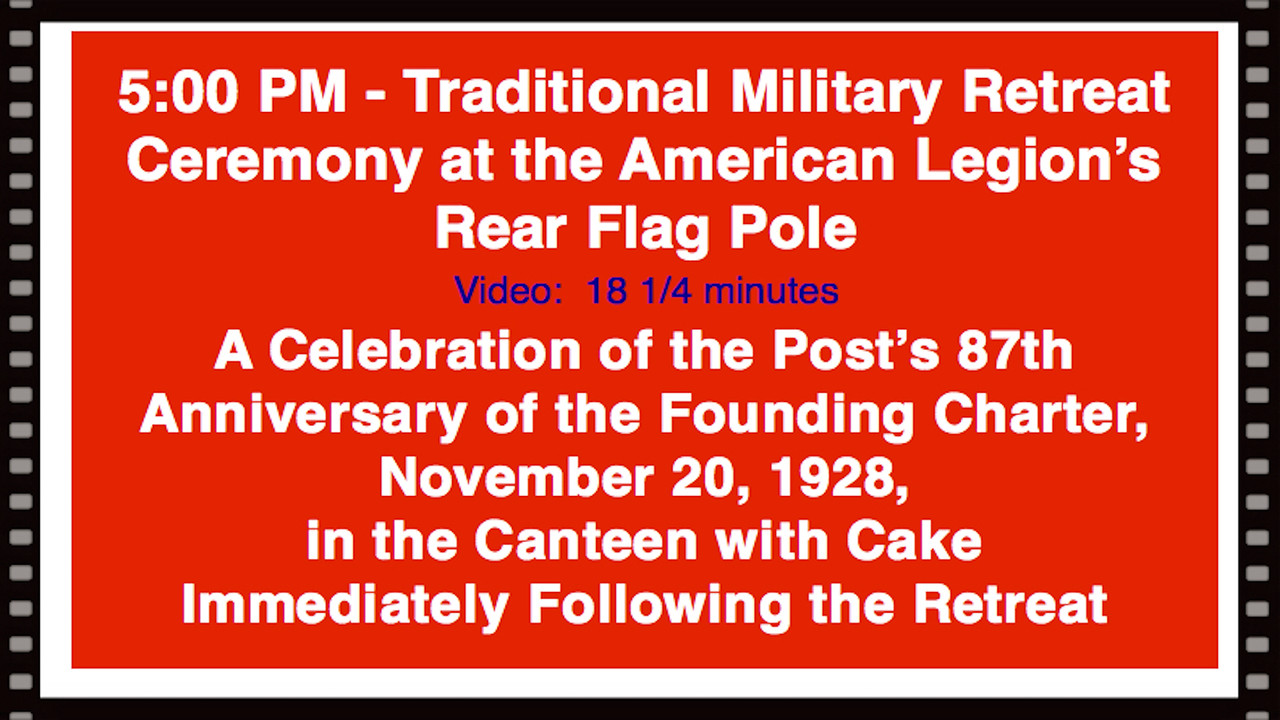 Video:  18 1/4 minutes~~American Legion Post 211, Avon Lake, OH 87th Birthday Retreat, 11-20-15