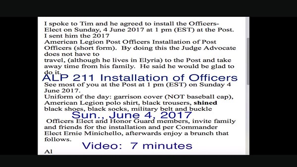 Video:  7 minutes ~~  ALP 211 Installation of Officers, Sun., June 4, 2017