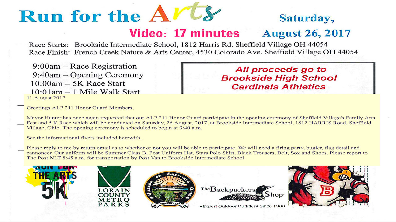 Video:  17 minutes--Sheffield Village Run for the Arts, Sat., Aug. 27, 2017.   alp 211