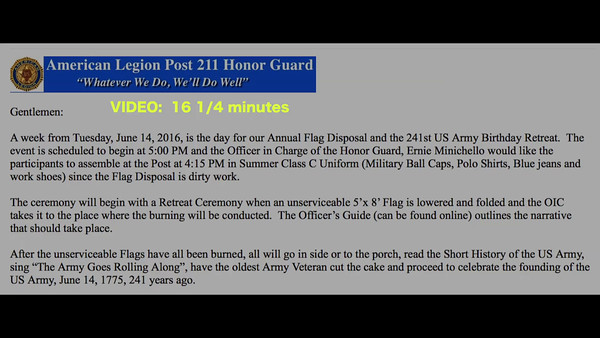 VIDEO:  16 1/4  minutes - Flag Day & U.S. Army 241st Birthday, Tue., June 14, 2016