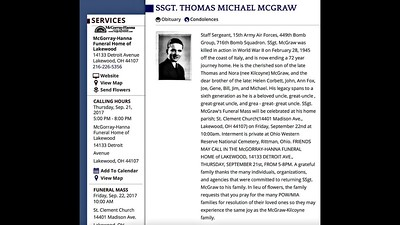 Video:  10 mins. ~~ WWII SSgt Thomas Michael McGraw, Wed., Sept. 20, 2017, Cleveland, OH