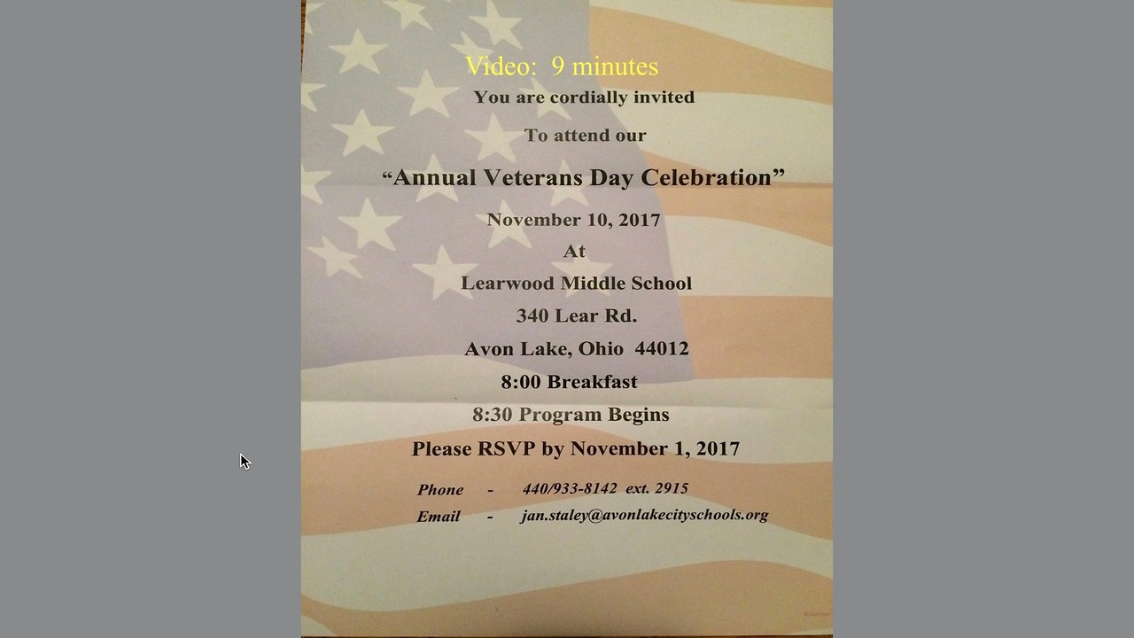 Video:  9 mins ~~ Learwood Middle School School, Nov. 10, 2017--Annual Veterans Day Celebration.