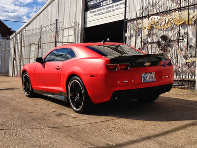 Skinzwraps Satin Red on a Camaro in Dallas, TX www.skinzwraps.com