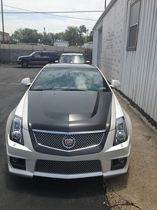 Skinzwraps Matte Black on a CTS in Dallas, TX www.skinzwraps.com