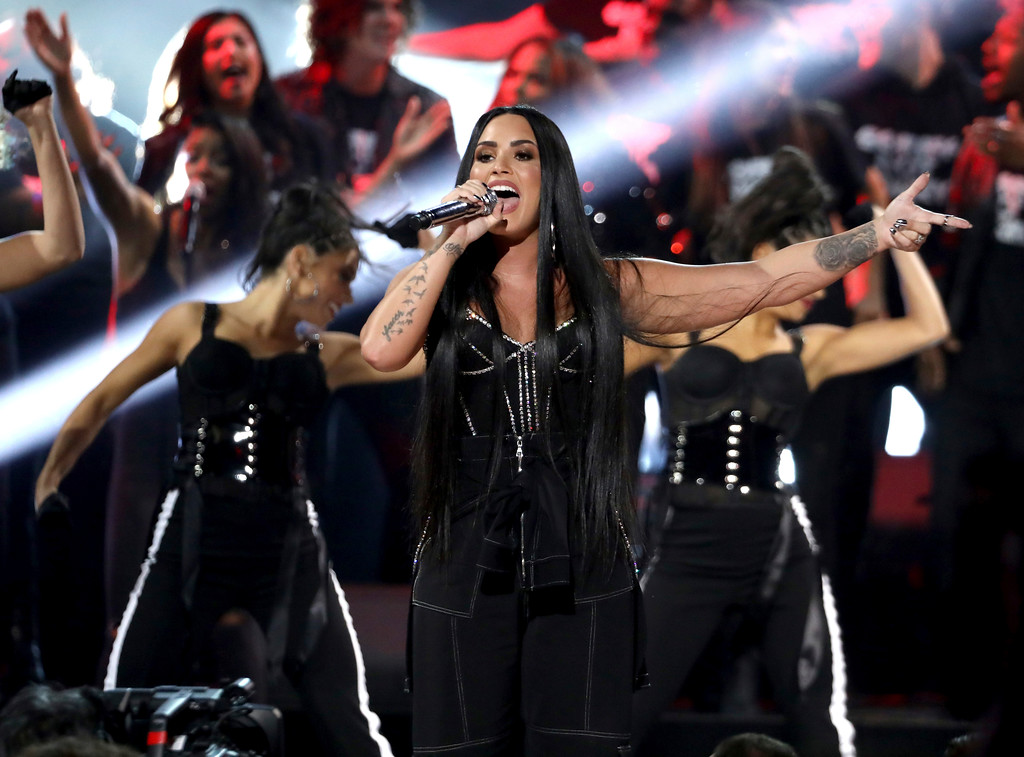 ". Demi Lovato performs ""Sorry Not Sorry\"" at the American Music Awards at the Microsoft Theater on Sunday, Nov. 19, 2017, in Los Angeles. (Photo by Matt Sayles/Invision/AP)"