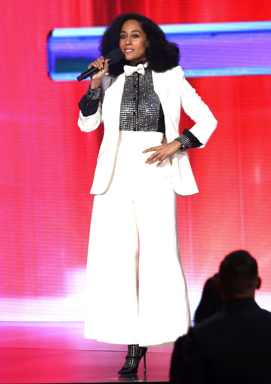 . Host Tracee Ellis Ross speaks at the American Music Awards at the Microsoft Theater on Sunday, Nov. 19, 2017, in Los Angeles. (Photo by Matt Sayles/Invision/AP)