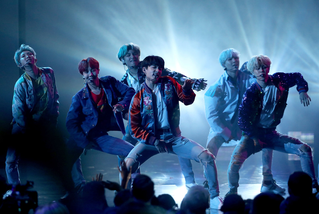 ". BTS performs ""DNA\"" at the American Music Awards at the Microsoft Theater on Sunday, Nov. 19, 2017, in Los Angeles. (Photo by Matt Sayles/Invision/AP)"