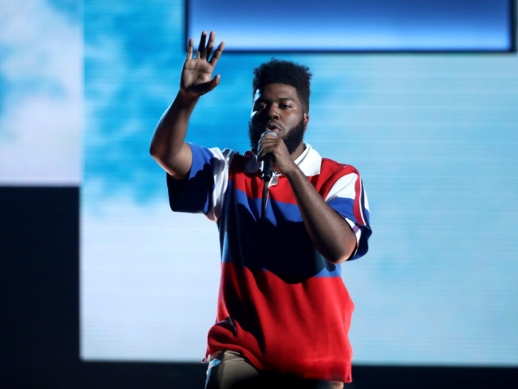 . Khalid performs at the American Music Awards at the Microsoft Theater on Sunday, Nov. 19, 2017, in Los Angeles. (Photo by Matt Sayles/Invision/AP)