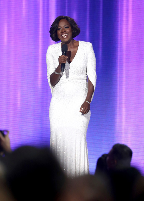 . Viola Davis introduces a performance by Christina Aguilera at the American Music Awards at the Microsoft Theater on Sunday, Nov. 19, 2017, in Los Angeles. (Photo by Matt Sayles/Invision/AP)