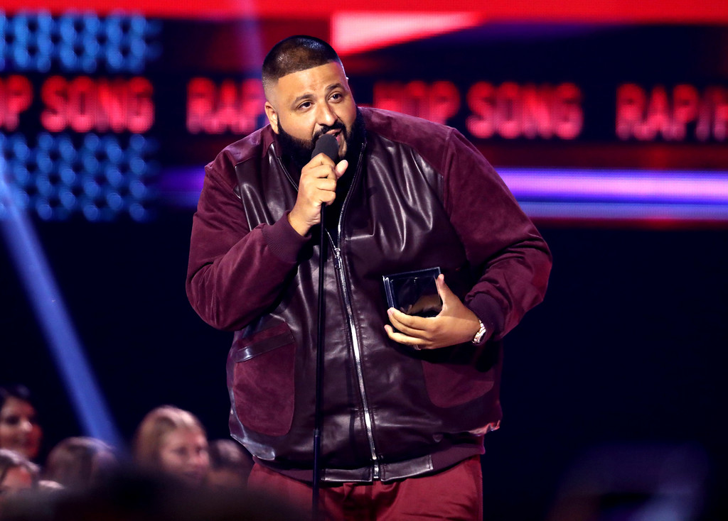 ". DJ Khaled accepts the award for favorite song rap/hip-hop for ""I\'m the One\"" at the American Music Awards at the Microsoft Theater on Sunday, Nov. 19, 2017, in Los Angeles. (Photo by Matt Sayles/Invision/AP)"