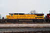A Union Pacific GE C40-8 (Dash 8 40C) sits in the Fort Frances yard during a overcast day  providing a nice even light.