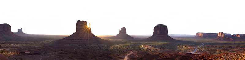 Sunrise over West and East Mitten Buttes and the valley floor
