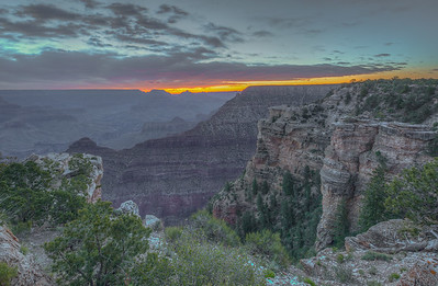Just before sunrise in the Mather Point area of the Grand Canyon