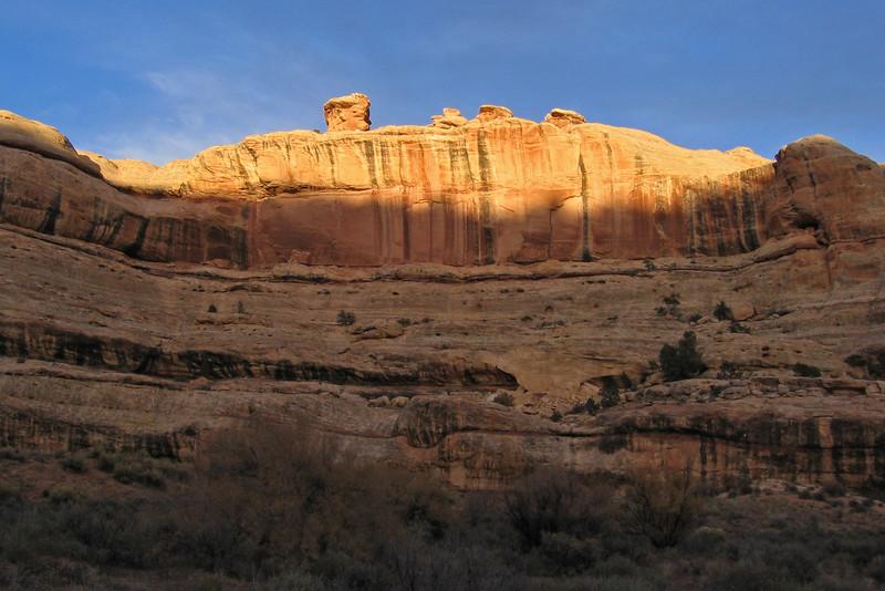 Sunshine on a cliff deep inside Grand Gulch, Utah.