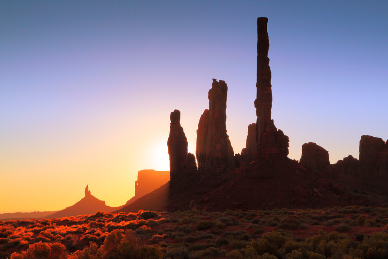 Sunrise Landscape at the Totem Pole,  Monument Valley
