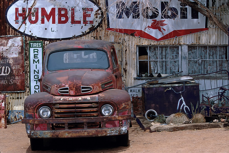 rusty truck and signs at Hackberry