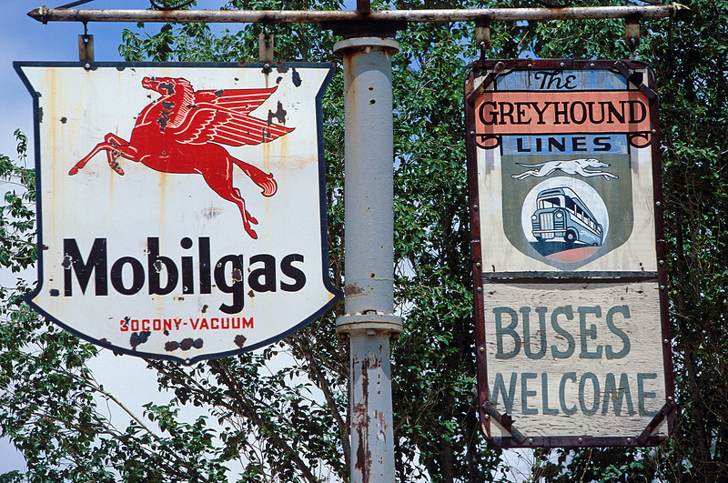 Mobilgas & Greyhound signs at Hackberry AZ