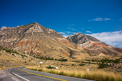 highway outside Bighorn National Forest Wyoming