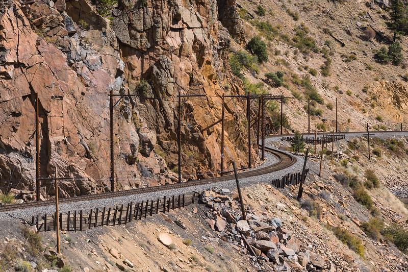 S-bend in railroad tracks through mountain pass near Hot Sulphur Springs CO