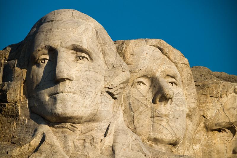 Washington & Jefferson morning on Mt Rushmore