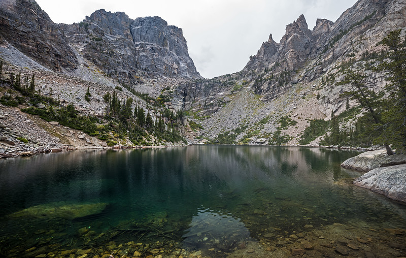 Emerald Lake cloudy afternoon Rocky Mtn Nat Park