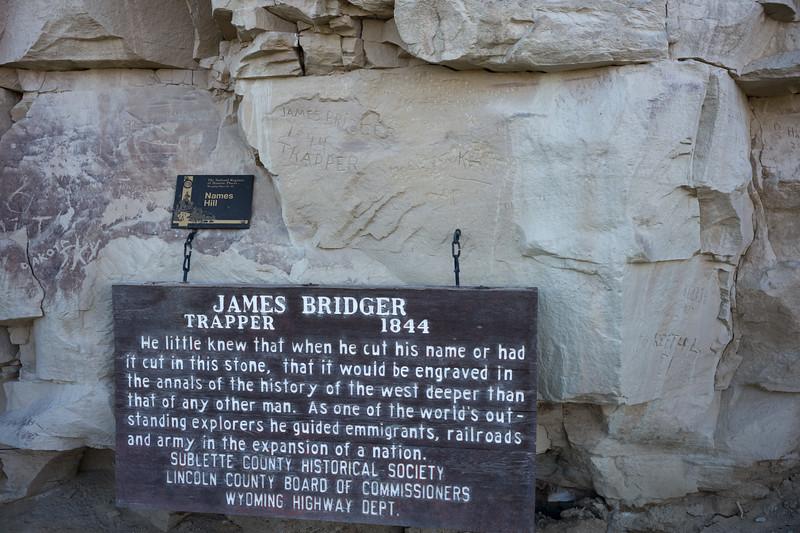 James Bridger trapper graffito in Names Hill
