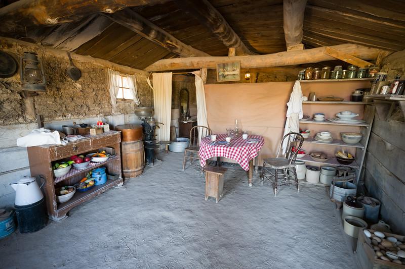 interior of sod house Prairie Homestead South Dakota