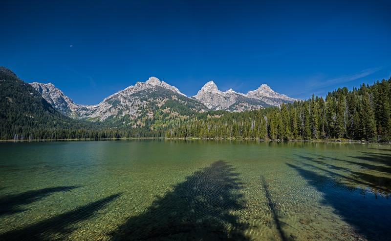 Taggart Lake with Tetons and shadows