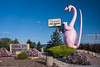 pink dinosaur welcoming you to Vernal Utah's Dinosaur Land