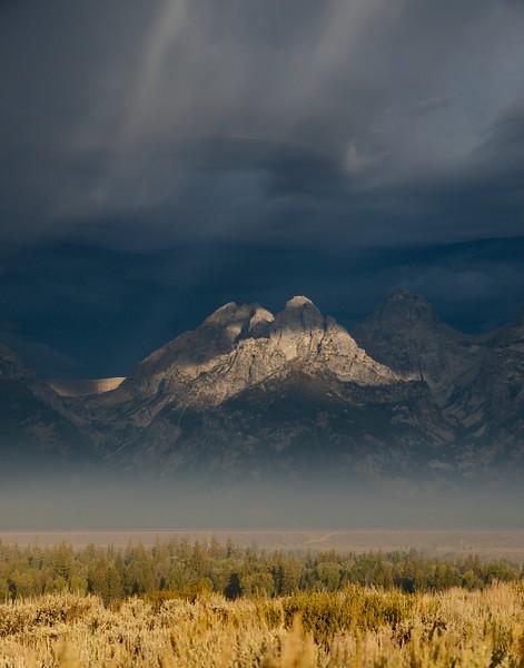 Ligh strikes South Teton and Nez Perce