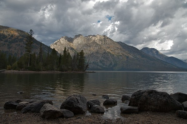 Sun breaks through at Jenny Lake