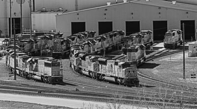 switching locomotives North Platte railroad yard B&W