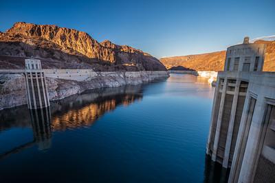 Lake Mead & intake towers Hoover Dam