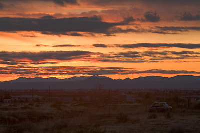 desert sunset with car