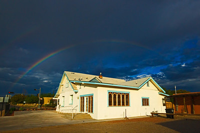 church in Mesilla with rainbow