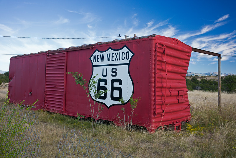 boxcar repurposed as RT66 sign 2