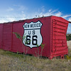 boxcar repurposed as RT66 sign 2