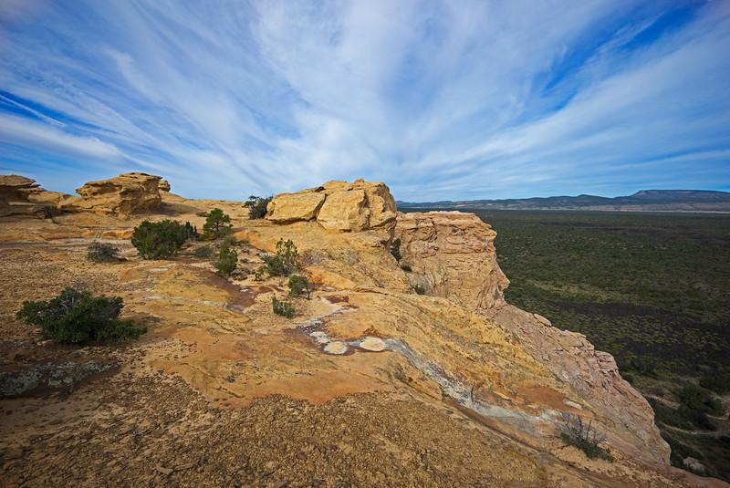 dried out pools Sandstone Bluffs El Malpais National Monument