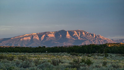 alpenglow roadside mountain Hwy 550 near Albuquerque