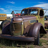 rusty green International truck cab