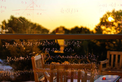 equations on window of Santa Fe Institute