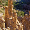 view of Bandelier valley with rock formations