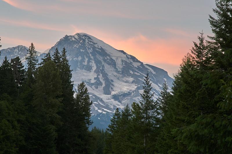 Southwest face Mt Rainer from Kautz Creek, sunset