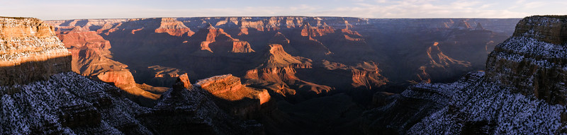 The snow-dusted Grand Canyon at dusk.