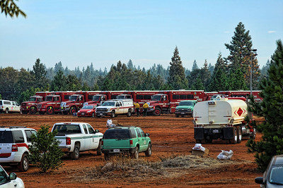 Off-shift vehicles at Base Camp.
